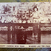 Vintage  Sepia Postcard Waikiki Lau Yee Chai Honolulu Hawaii Happy New Year