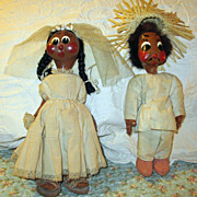 Vintage 1930's Mexican Oilskin Bride and Groom Doll