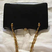 Vintage 60's French Calf Leather Saks Fifth Avenue Navy Purse/Handbag
