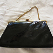 Vintage 60's Black Patent Leather Handbag/Purse