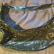 Gold Mesh and Silver Green Leather Hobo Bag ( Whiting & Jana Feifer style)
