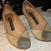 Vintage 1970's Maud Frizon Leather & Suede 6.5M Pumps