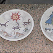 Three Native Indian Pueblo Pottery Plates Signed Cruz