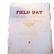 1921 Field Day Program Santa Monica Elementary and Intermediate Schools RARE