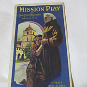 Mission Play At Old San Gabriel Mission Dec 31,1921 Brochure