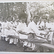 "Victorian Picnic Photograph Group Men/Women in Woods Wearing White 4 .5"" x 3.5"""