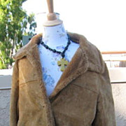 Vintage Jones New York Faux Suede and Faux Shearling Winter Coat