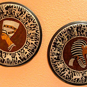*Old Pair Quality Silver & Copper Wall Plates Egyptian Nefretiti & King Tut*
