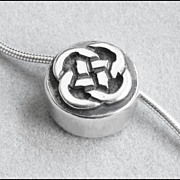 Attractive Sterling Silver Celtic Knot Necklace, Slide Pendant, Snake Chain