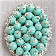 Vintage Rhinestone, Turquoise Blue Glass Bead Dress Clip