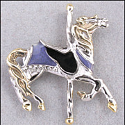 Colorful Sterling Silver Carousel Horse Charm or Pendant, Animal Figural