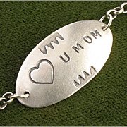 Sweet Sterling Silver Love You Mom Bracelet, Heart