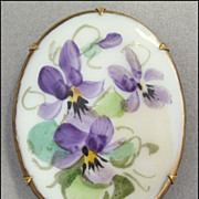 Vintage Hand Painted Porcelain Violet Flower Brooch Pin