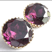 Large Vintage Amethyst Purple Glass Rhinestone Earrings