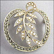 Exquisite Vintage Signed Marcasite, White Glass, Brooch Pin, Lisner