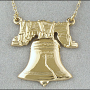 Vintage 12K Gold Filled Liberty Bell Necklace, Signed