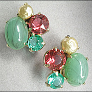 Chunky Vintage Art Glass, Rhinestone, Faux Pearl Earrings