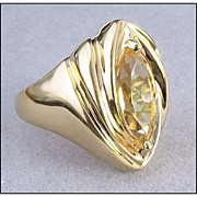 Lovely Sterling Silver Finger Ring, Yellow Stone
