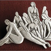 "Unusual Pewter Lapel Pin from The Philadelphia Museum of Art, Detail of ""The Bathers"""