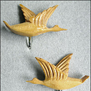 Vintage Hand Carved Wooden Flying Wild Geese Earrings, Bird Figural