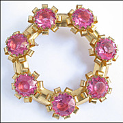 Showy Vintage Rose Pink Rhinestone Brooch Pin