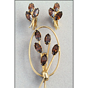 Vintage Brown Topaz Glass Rhinestone Demi Parure, Brooch Pin, Earrings Set