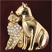 Charming Rhinestone Kitten with Mother Cat Brooch Pin, Animal Figural
