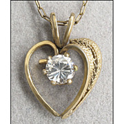 Vintage Gold Filled, Rhinestone Heart Chain Necklace
