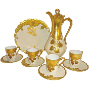 "STUNNING - Limoges - Coco Set - Chocolate Pot - 4 Tea Cups - 4 Saucers - 9 1/2"" Plate ..."