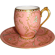Fabulous - Tea - Coffee - Chocolate - Coco - Demitasse - Cup - Saucer - Encrusted Gilded Desig