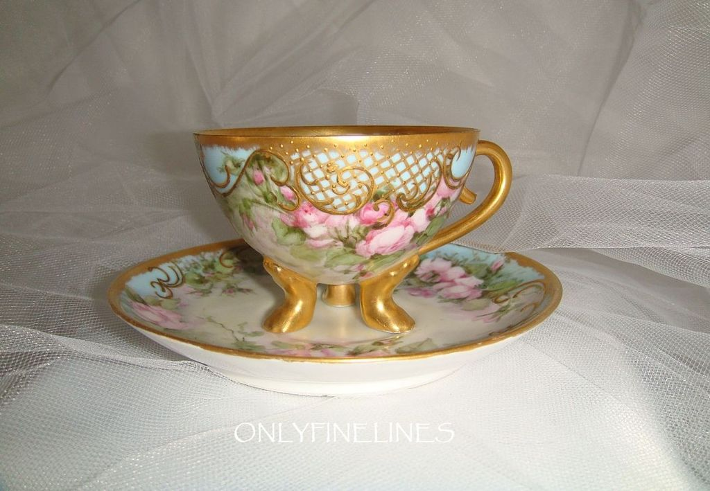 GORGEOUS - Chocolate - Coco - Coffee - Tea - Footed Cup - Saucer - Hand Painted - Romantic - Victorian Bouquets - Pink Tea Roses - Ornate Gilded Design - Coin Gold Accents - Artist Signed - Museum Quality - One-of-a-Kind -  Hand Painted  Heirloom