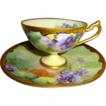 Awesome - Philip Rosenthal - Pickard - Tea - Coffee - Chocolate - Coco - Demitasse - Cup - Saucer - Hand Painted - Artist Signed Reury - Romantic Victorian Bouquets - Purple Violets - Coin Gold Accents - Circa 1910 - Antique American HP Heirloom
