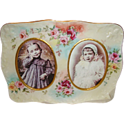Stunning - D&C - Limoges FRANCE - Double Portrait Porcelain Frame - HAND PAINTED - Romantic Vi