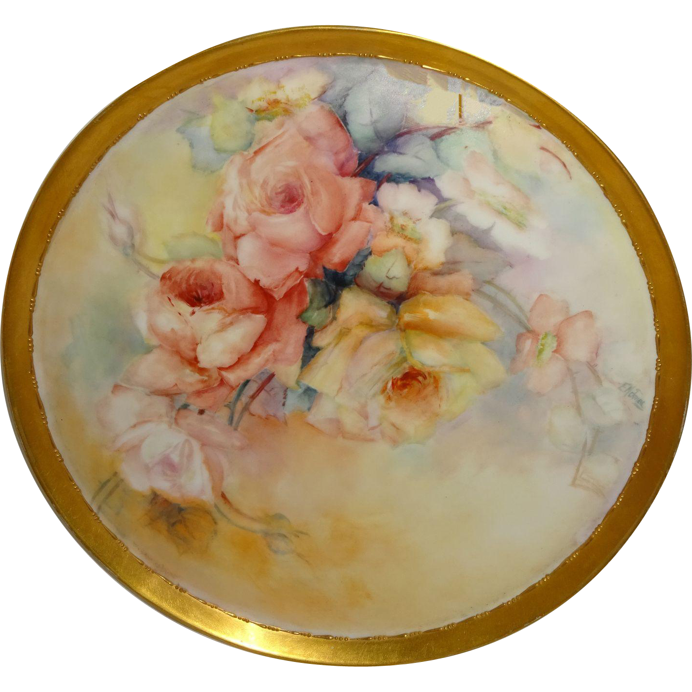 GORGEOUS -T&V - Limoges - France - Charger - Tray - Hand Painted - Romantic - Victorian Bouquets - Tea Roses - Artist Signed - One-of-a-Kind - Museum Quality - French Antique Heirloom