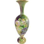 Beautiful Belleek Vase with Hand Painted Mums