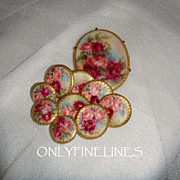 SOLD Stunning - Victorian Brooch - Matching 9 Buttons - Studs - Hand Painted - Romantic Bouque