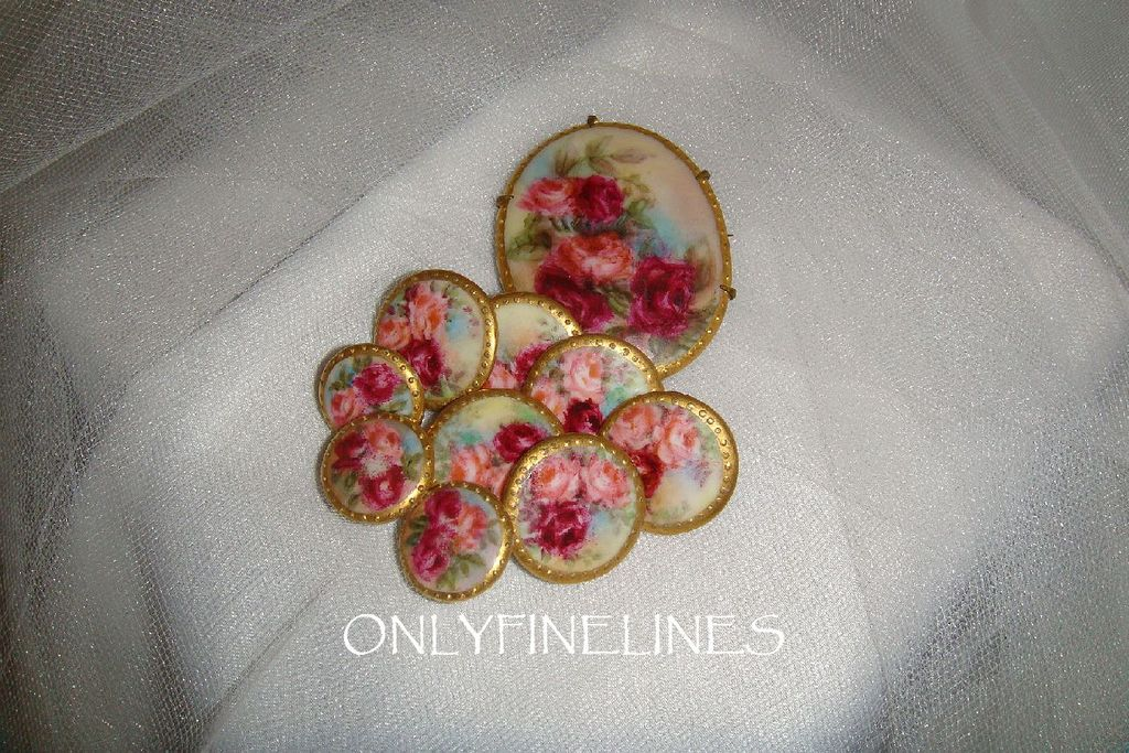 Stunning - Victorian Brooch - Matching 9 Buttons - Studs - Hand Painted - Romantic Bouquets - Pink Tea Roses - Roman Coin Gold - C- Catch - Vintage Hand Painted Heirloom