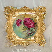 Limoges - France - Plate - Hand Painted - Victorian Bouquet - Romantic - Crimson Roses - Artis