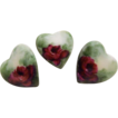 Three - Lovely - Heart - Buttons - Studs - Hand Painted - Romantic Victorian Bouquets - Crimson Tea Roses - Lush Greenery  - Rare Vintage Heirloom