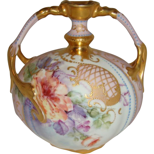 Fabulous - JP - Limoges - France - Vase - Romantic - Victorian Bouquets - Tea Roses - Ornate Gilded Design - Duel Handles - Coin Gold Accents - Blue Enamel Jewels - Museum Quality - Vintage French Heirloom