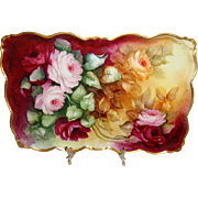 Stunning - Scalloped - Vanity -Tray - Hand Painted Treasure - Victorian Bouquets -  Romantic T