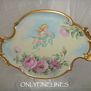 "Fantastic - T&V - Limoges - France - 18"" x 14"" - Tray - Platter - Hand Painted - Rom"