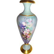 FABULOUS Limoges Vase with Hand Painted Pink Roses - Signed