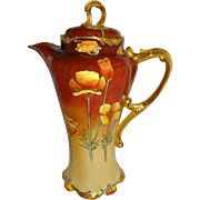 FABULOUS Limoges Chocolate Pot with Hand Painted Tangerine Orange Poppies