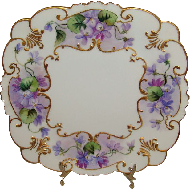 F*A*B*U*L*O*U*S - GDA - Limoges - France - Square Plate - Tray - Hand Painted - Romantic - Victorian Bouquets - Deep Purple - Pansies - Lush Greenery - Coin Gold Accents - Vintage Hand Painted  French Heirloom