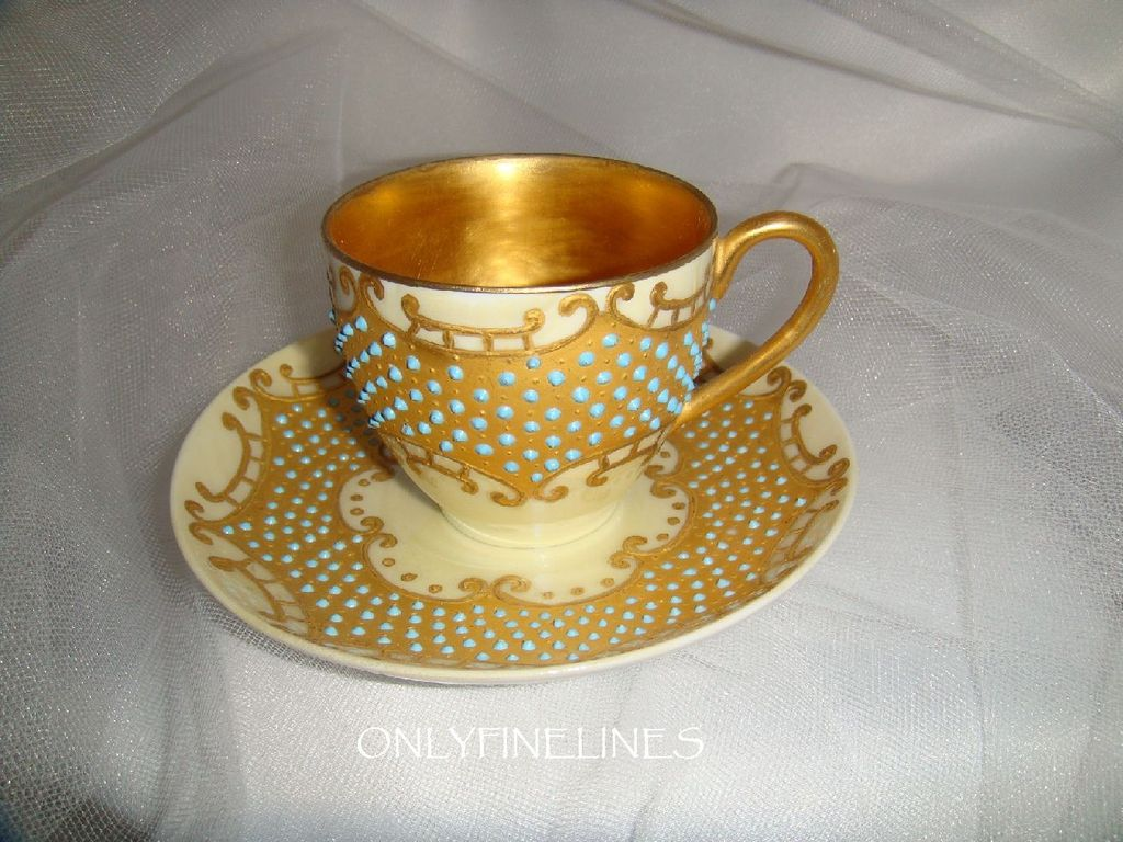 Exquisite - D&C - Limoges - France - Coffee - Tea - Chocolate - Coco - Cup - Saucer - Hand Painted - Ornate Gilded Design - Powder Blue - Enamel Jewels - Luster Backdrop - Circa 1900 - Antique French  Heirloom