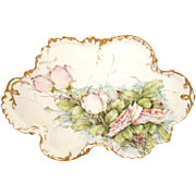 MAGNIFICENT - Limoges - Vanity Tray - Hand Painted - Romantic Victorian Bouquet - Pink  Tea RO
