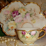 HAVILAND - Limoges FRANCE - Luncheon Plate - Matching Tea Cup - Hand Painted - Romantic Victor