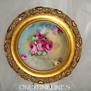 Gorgeous - Mavaleix - Limoges FRANCE - Framed - Plate - Hand Painted - Romantic Victorian Bouq