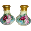 MZ Austria - Salt and Pepper Shakers - Hand Painted Tea Roses - Gold Pierced Tops - Artist Signed - One-of-a-Kind - FABULOUS!